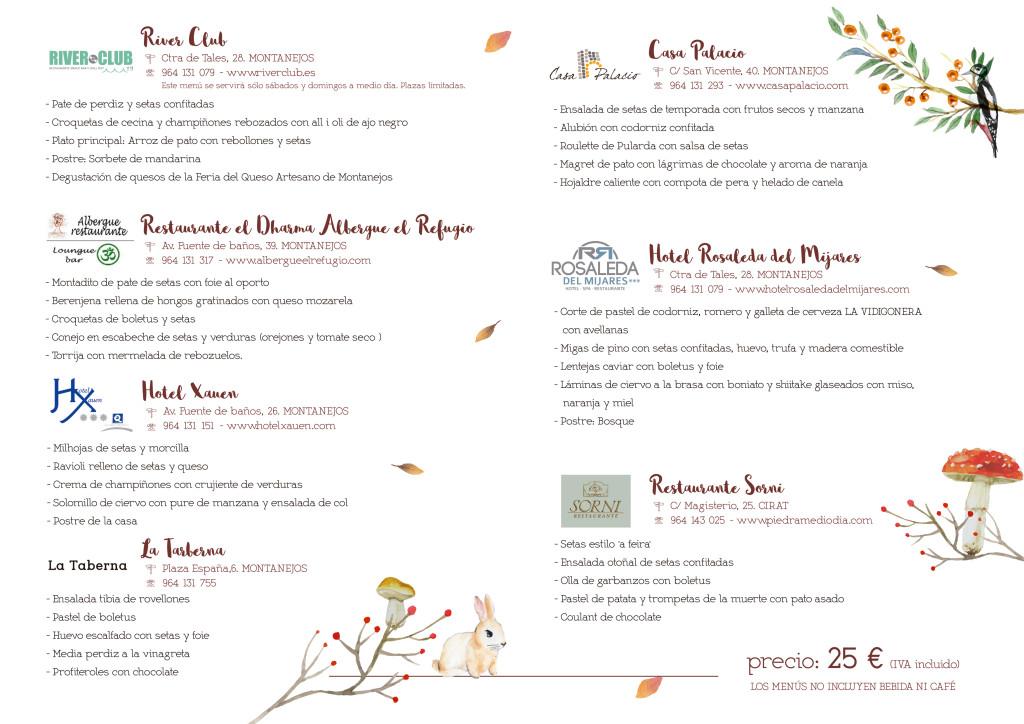 Menús 11 Jornadas Gastronómicas Setas y Caza
