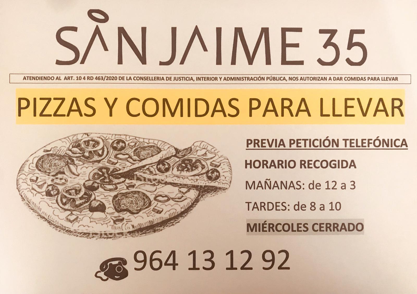 (Español) Pizzas y comidas para llevar en San Jaime 35